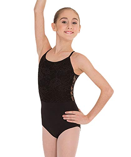 Body Wrappers Camisole Leotard W/Front Bodice Lace Overlay (2060) -Black -6X-7