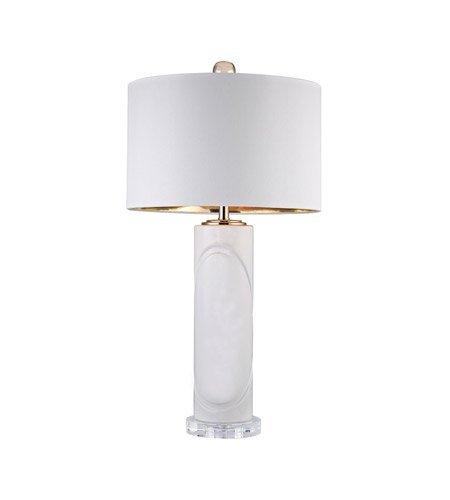 Amazon.com: Lámpara de mesa 1 luz con metal blanco brillante ...