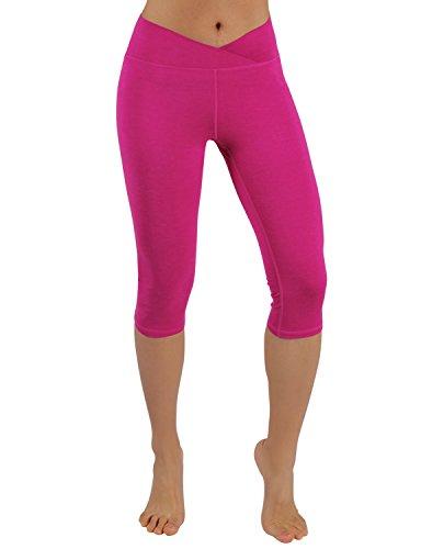 - ODODOS Power Flex Yoga Capris Tummy Control Workout Non See-Through Pants with Pocket,Fuchsia,Medium