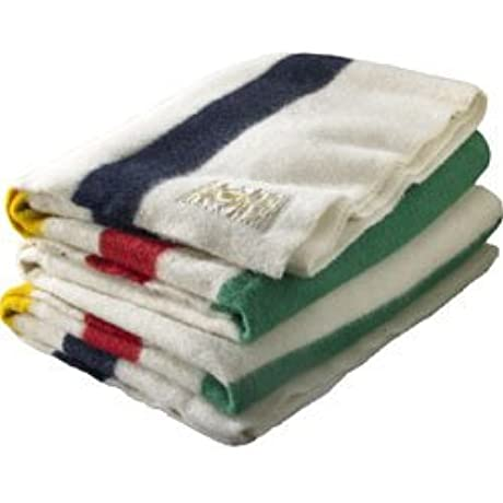 Hudson Bay 4 Point Blanket Natural With Multi Stripes Free Hudson Bay Scarf Included