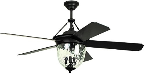 Litex E-KM52ABZ5CMR Knightsbridge Collection 52-Inch Indoor/Outdoor Ceiling Fan with Remote Control, Five Dark Aged Bronze ABS Blades and Single Light Kit with Hammered Glass, Works with Alexa ()