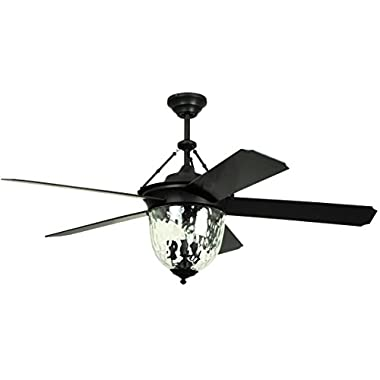Litex E-KM52ABZ5CMR Knightsbridge Collection 52-Inch Indoor/Outdoor Ceiling Fan with Remote Control, Five Dark Aged Bronze ABS Blades and Single Light Kit with Hammered Glass