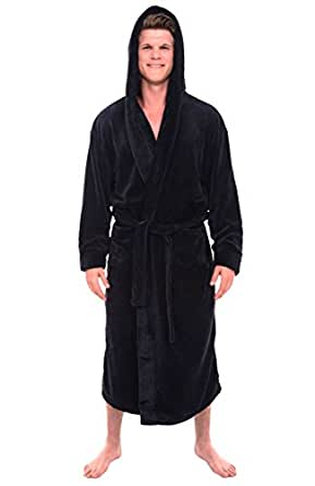alexander del rossa mens plush warm robe with hood big and tall bathrobe at amazon men s. Black Bedroom Furniture Sets. Home Design Ideas