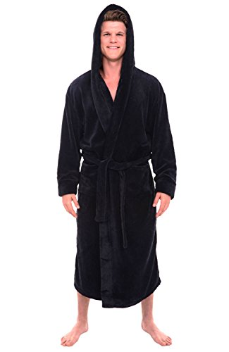 Alexander Del Rossa Men's Robe with Hood - Premium Fleece Bathrobe, Big and Tall, 1XL 2XL Black (A0125BLK2X)