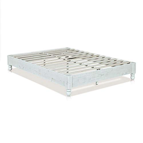 MUSEHOMEINC Wood Platform Bed Frame Rustic Style,Mattress Foundation(no boxspring Needed), White Washed Finish,Full