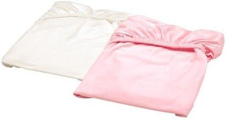 Ikea Len – Sábana bajera para cuna; en blanco y rosa; 100% algodón ...
