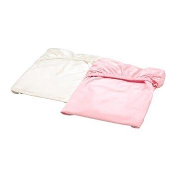 Ikea Len Drap Housse Pour Lit Bébé En Blanc Et Rose 100