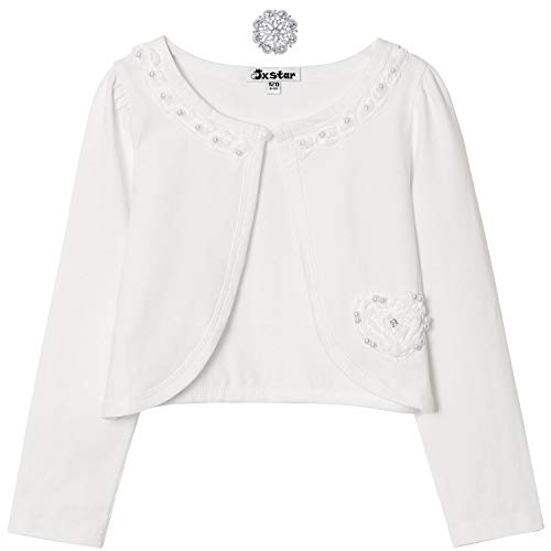 Flower Shrugs for Princess Girls Bolero Jacket Cardigan Long Sleeve White