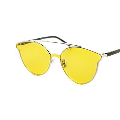 protección del sol del marco gafas color la sol amarillas de redondo Gafas metal de de las del de NIFG CYqF4P
