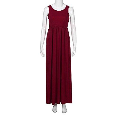 ... Amcool Damen Solid Long Boho Kleid ärmelloses Trägershirt Strand  Sommerkleid Maxikleid Burgundy 1OkIdBcD ... 84127af087