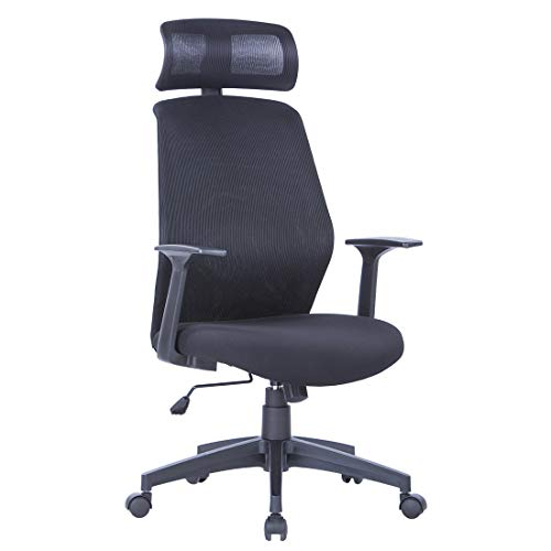 LIANFENG Ergonomic Mesh Office Chair, High Back Swivel Computer Desk Chair with Armrests, Adjustable Headrest and Bulit-in Lumbar Support