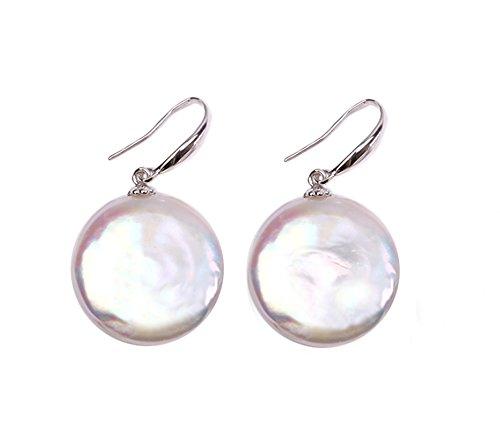 (Rakumi Sterling Silver 13-14mm White Coin Freshwater Pearl Dangle Earrings)
