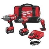Milwaukee M18 Cordless Lithium-Ion Impact Wrench 3 Tool Combo Kit
