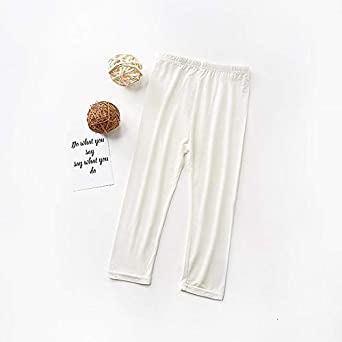 JS One Cropped Girl 3//4 Length Cotton Plain Kids Capri Leggings Age 2-11