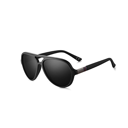 2020VentiVenti Classic Aviator Polarized Driving Sunglasses for Men Matte Black Frame/Smoke Lens Oval 52mm Full Frame Double Bridge with Sun Case ()