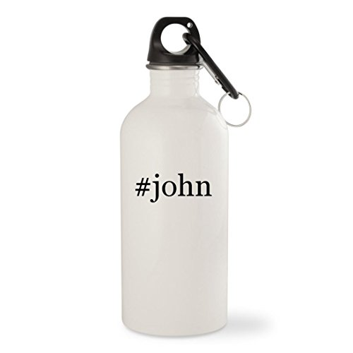 #john - White Hashtag 20oz Stainless Steel Water Bottle with Carabiner