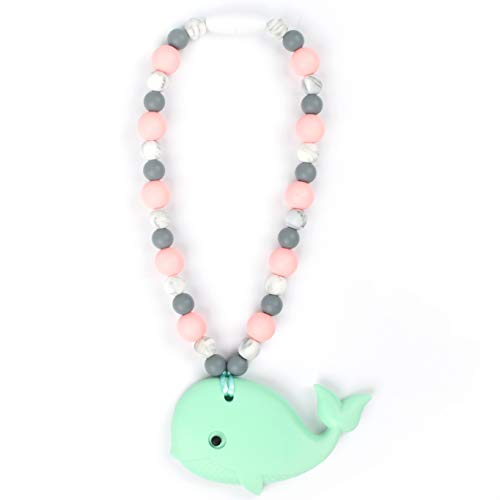 Nummy Beads Rose/Marble Mint Whale Teether Toy Attaches to Baby Carrier, Car Seat, High Chair, Stroller or Diaper Bag (Best Ssc Baby Carrier)