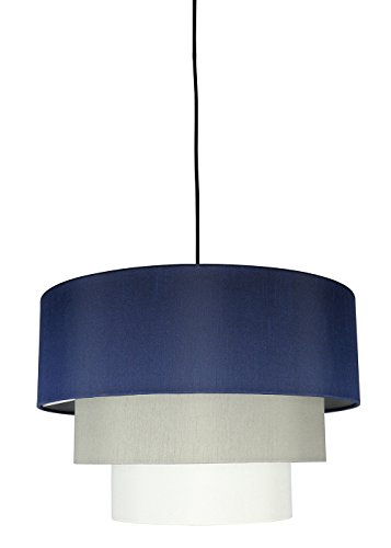 Urbanest Renzo 3-Tier Shade Pendant with Hanging Light Kit, Navy Blue, Moss Gray, and Eggshell Silk, 18-inch Diameter, 12-inch ()