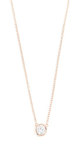 SHASHI Women's Solitaire Necklace, Rose Gold/Clear, One Size