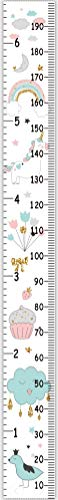 Miaro Kids Growth Chart, Wood Frame Fabric Canvas Height Measurement Ruler from Baby to Adult for Child's Room Decoration 7.9 x 79in (7.9 x 79in, Rainbow)