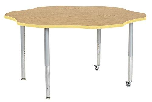 ECR4Kids Contour 60'' Mobile Flower Activity School Table, Super Legs w/ Glides and Casters, Adjustable Height 19-30 inch (Oak/Squash) by ECR4Kids
