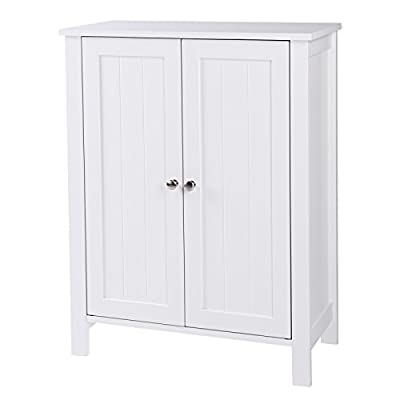 SONGMICS Bathroom Floor Storage Cabinet with Double Door Adjustable Shelf White UBCB60W