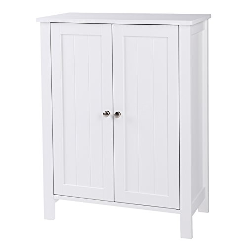 SONGMICS Bathroom Floor Storage Cabinet with Double Door Adjustable Shelf White (Bathroom Floors)