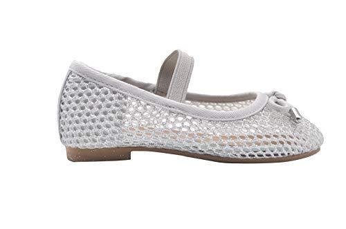 bebe Toddler Girls Ballet Flats 9 M US Toddler Glitter Mesh Slip On Sandals Silver