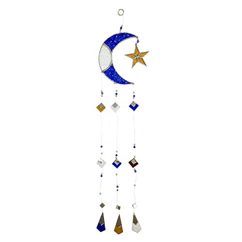 Ruth + Wilde Moon and Star Glass Suncatcher Mobile for Window or Patio
