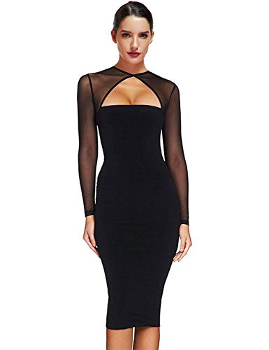 Maketina Women Midi Length Cut Out Keyhole Party Bodycon Bandage Dress with Transparent Long Sleeves Black M