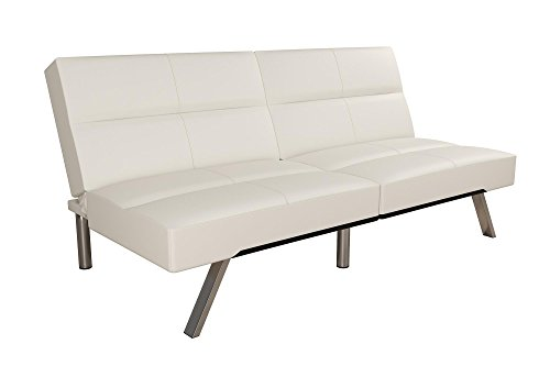 DHP Studio Convertible Futon Couch, Vanilla Faux Leather