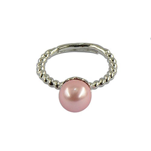 Dovewill Elegant Flower Pattern Freshwater Shell Pearl Adjustable Wedding Finger Ring - Pink (Shell Ring Pink)