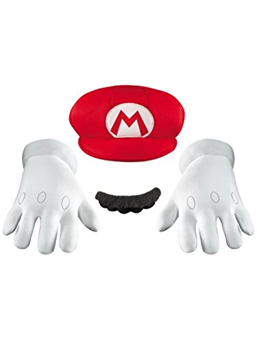 Disguise Men's Nintendo Super Mario Bros.Mario Adult Costume Accessory Kit, Red/White/Brown, One Size