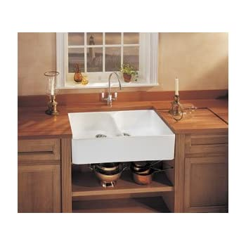 Franke : MHK72035WH 35 Double Bowl Fireclay Sink