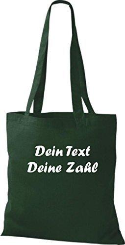 ShirtInStyle Bolso de tela Bolsa de algodón con su Texto deseado individual - Verde, 38 cm x 42 cm Verde