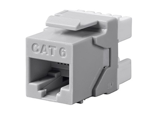 Monoprice Cat6 RJ-45 180-Degree Punch Down Keystone Dual IDC, Gray (Rj 45 8p8c Keystone)