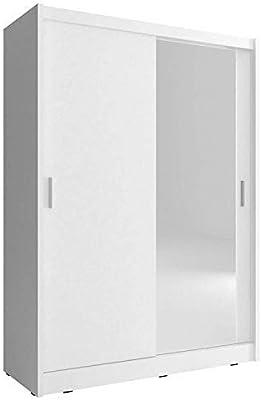 Armario de 2 puertas correderas, 130 cm de ancho, madera color maya, blanco: Amazon.es: Hogar