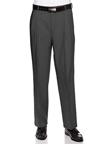 RGM Mens Pleated Front Dress Pants – Wool Blend Long Formal Pants for Men, Made in US Charcoal 44 Short