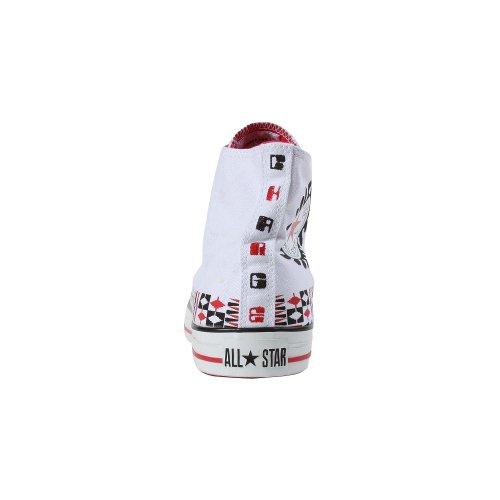 Converse (inverso) Red Chuck Taylor Mens 100 Ruote Hi Top Bianco Rosso Nero 108939