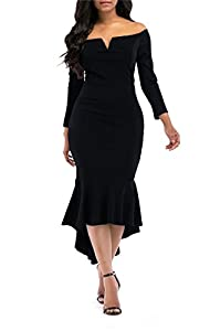 onlypuff Womens Off The Shoulder High Low Bodycon Mermaid Evening Party Midi Dress
