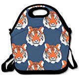 Women Men Kids Jungle Tigers in Auburn Colors Thermal Cooler Insulated Neoprene Lunch Bag Zipper Lunch Organizer with Adjustable Strap Rugged Tote Handbag Lunch Backpack for School Work