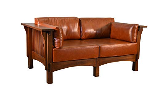 Crafters & Weavers Mission Crofter Style Oak and Leather Loveseat Sofa