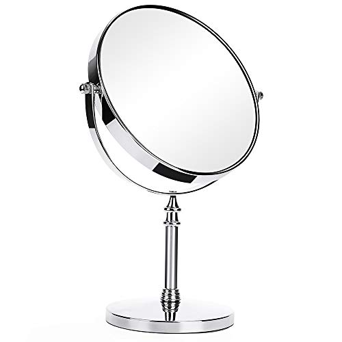 KEDSUM 8-Inch Large Double Sided 1X/10X Magnifying Makeup Mirror, 14-inch Height 360 Degree Swivel Vanity Mirror with Magnification, Travel Mirror with Stand and Removable Base ()