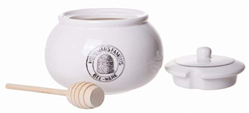 Classic Ceramic Stoneware Lidded Honey Jar with Wooden Dipper, White, ()