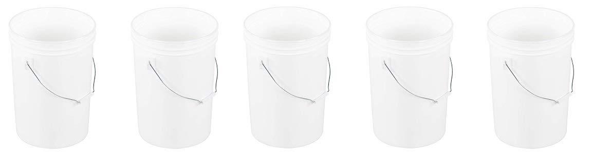 Vestil PAIL-6-PWS Plastic Open Head Pail with Steel Handle, 6 Gallon Capacity, White (5-(Pack))