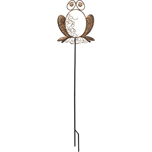 Garden Gifts by Precious Moments 171491 Friendly Froggy Decorative Scrolwork Metal Garden Stake Yard Décor, Bronze, 28-inch High