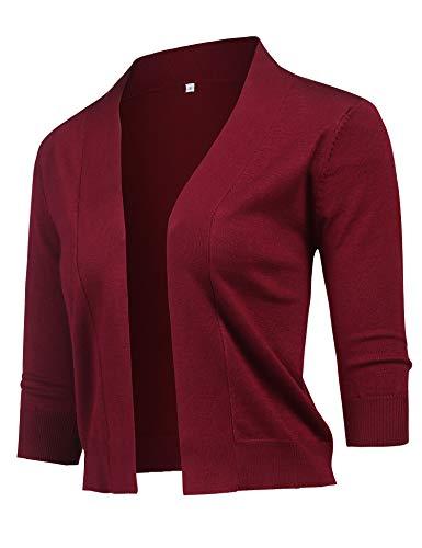 URRU Women's Trendy Bolero Shrug Open Front Cropped Cardigan 3/4 Sleeves Short Coat/Sweater Wine red S