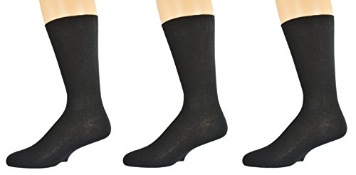 Sierra Socks 100% Diabetic Cotton True Rib Men Crew Smooth Toe Socks M11 2334 (Black 3 Pair)