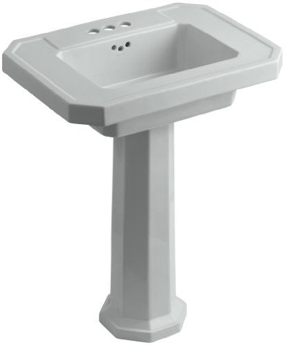 Grey Kathryn Pedestal Lavatory (KOHLER K-2322-4-95 Kathryn Pedestal Bathroom Sink with 4