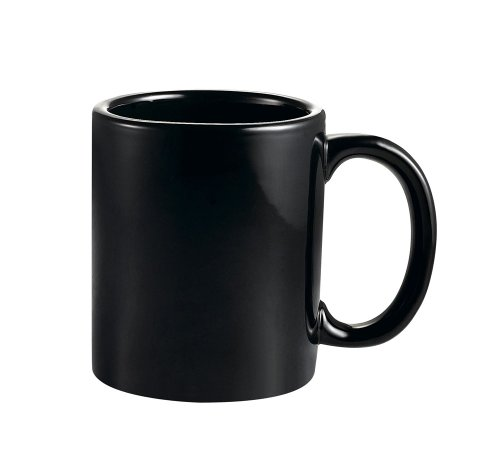 CAC China MUG-10B 10-Ounce Stoneware Round Mug, 3-1/2-Inch, Black, Box of 36 by CAC China